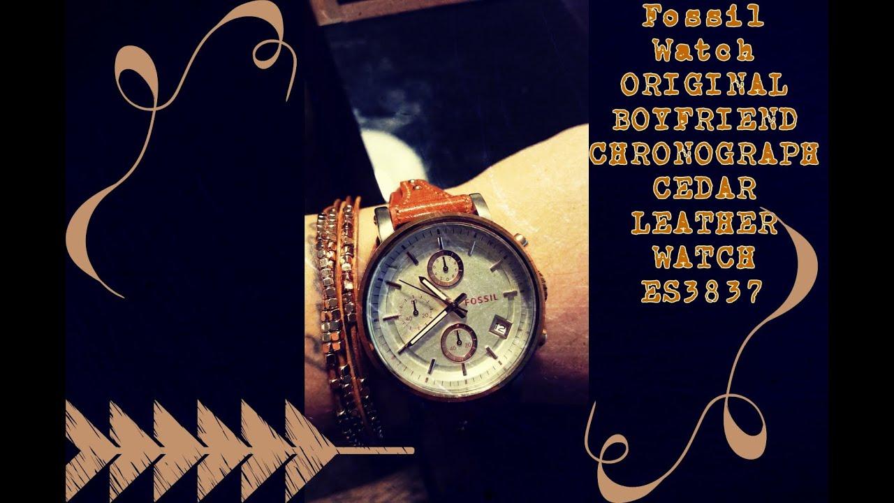 Fossil Watch Original Boyfriend Chronograph Cedar Leather Es3380 Rose Tone Es3837 Youtube