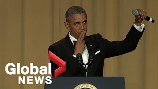 """Obama out:\"" President Barack Obama\'s hilarious final White House correspondents\' dinner speech"