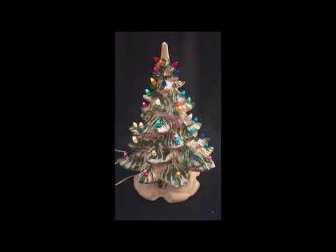 atlantic mold ceramic green and white musical christmas tree jingle bells - Atlantic Mold Ceramic Christmas Tree