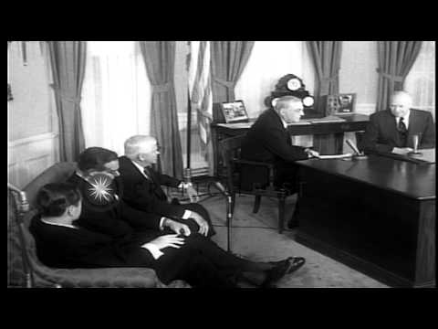 President Dwight D. Eisenhower meeting with Cabinet members in the White House. HD Stock Footage
