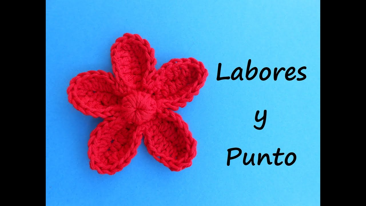 Aprende a tejer esta flor con petalos a ganchillo o - Como hacer flores de ganchillo ...