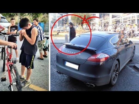 Boy on a bicycle crashed into a Porsche... What the owner of the car did SURPRISED everyone! thumbnail