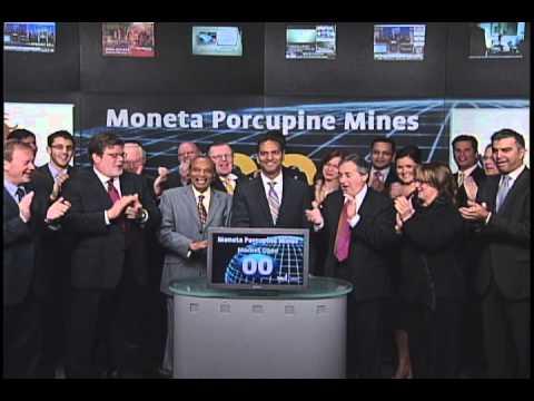 Moneta Porcupine Mines Open Toronto Stock Exchange. October 12, 2010.