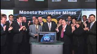 Moneta Porcupine Mines open Toronto Stock Exchange. October 12, 2010.