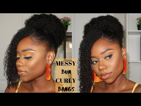 Hairstyle For Natural Hair : Messy Curly High Bun And Side Bang   BetterLength thumbnail