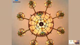 Antique Stained Glass Chandelier Lighting Fixture FREE SHIPPING!