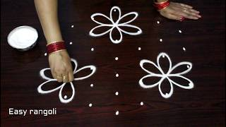 simple rangoli designs with 7x4 dots || beginners kolam designs || muggulu designs with dots
