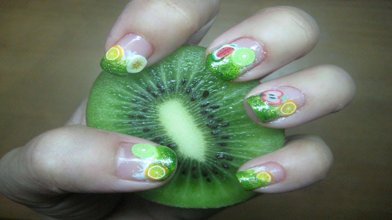 Fimo Fruits Nail Art Tutorial (short nails) - YouTube