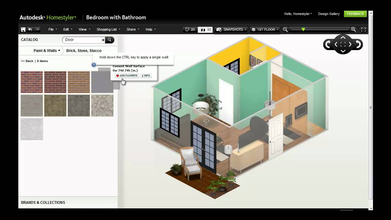 Autodesk homestyler refine your design youtube for Homestyler 3d