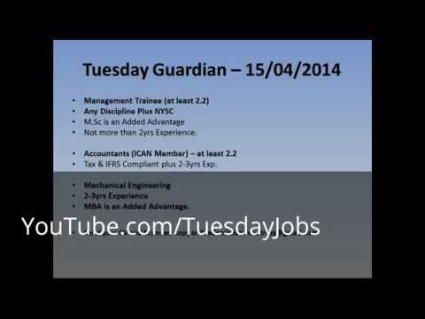 Tuesday Guardian Newspaper Job Vacancies