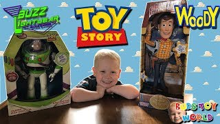 Disney Pixars Toy Story Woody and Buzz Lightyear Unboxing and Review REAL ACTION FIGURES