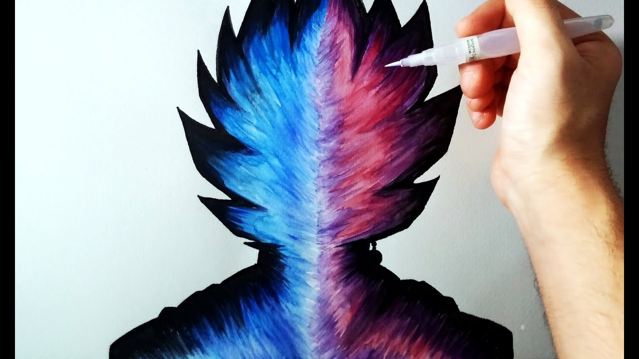 Aprende A Colorear Con Acuarelas (Fusión Goku SSJ God Vs