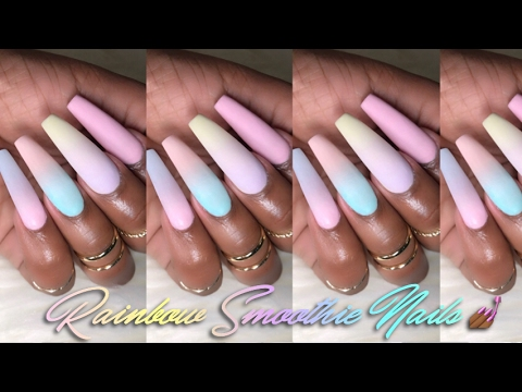 How To Matte Rainbow Smoothie Nails Spring Baby Boomers Pastel Ombré