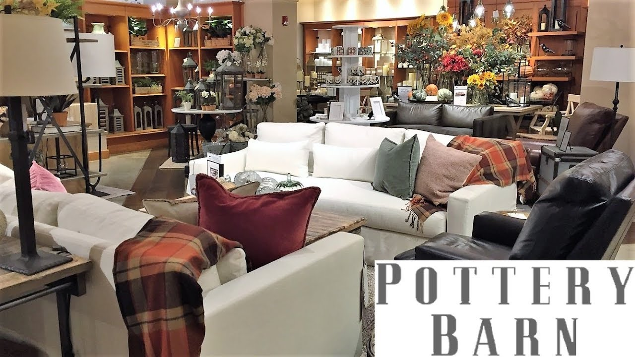 POTTERY BARN FURNITURE SOFAS ARMCHAIRS FALL HOME DECOR - SHOP WITH ME  SHOPPING STORE WALK THROUGH 4K