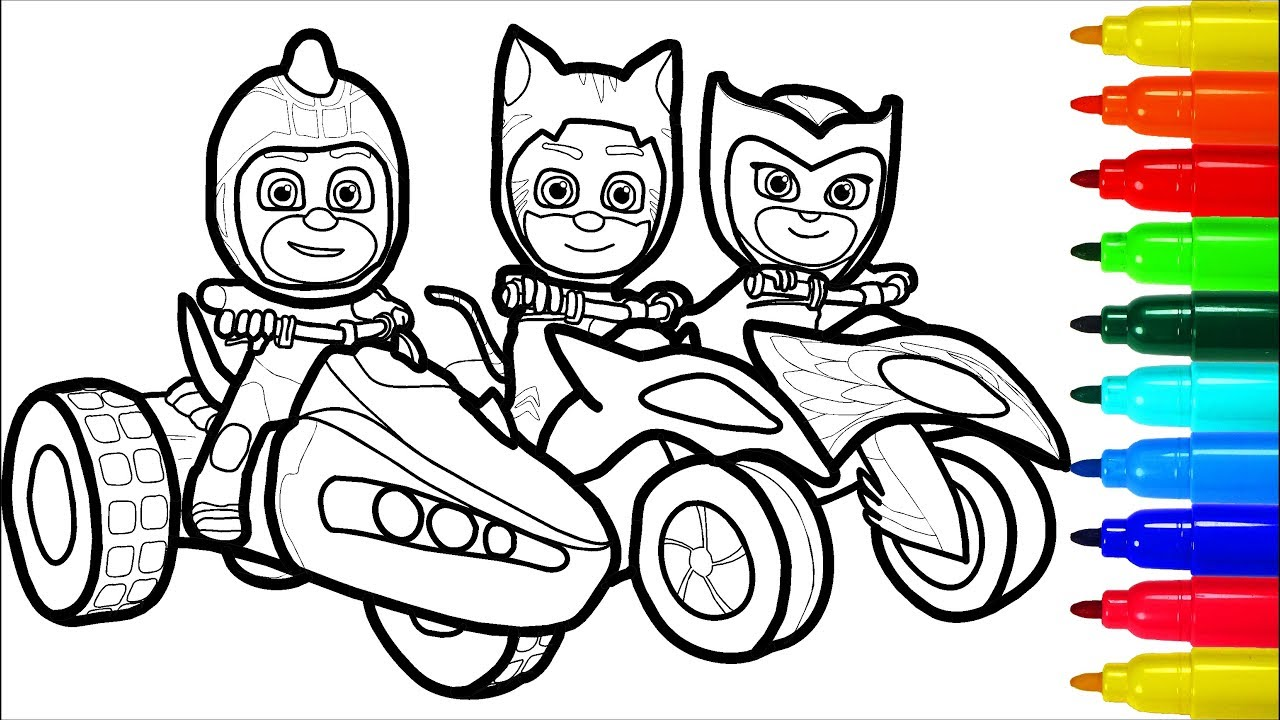 Pj Masks On Motorcycles Coloring Pages Superheros Coloring Pages Youtube