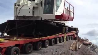 lowboy accident crane transporting