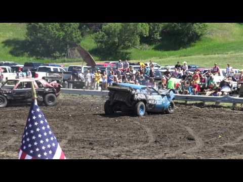 Linton, ND Demo Derby 2017 - Chain Bang - Elevated View - 4K Quality - NW Corner