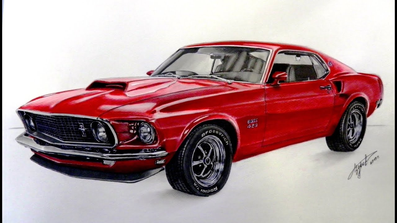 2015 Mustang Mach 1 >> Drawing Ford Mustang 1969 - YouTube