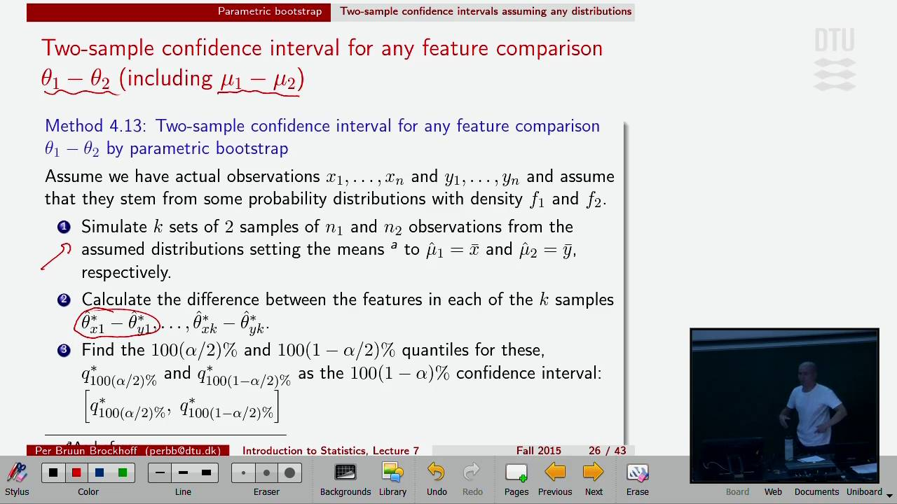 Lec 7F: Two-sample Confidence intervals by parametric ...