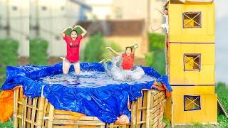 Thử Thách 24h Ở Ngoài Đường ❤ Làm Cầu Trượt Bể Bơi 3 Tầng - Trang Vlog