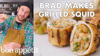 Welcome to Brad's World. Join Brad Leone in the Bon Appétit Test Kitchen as he makes grilled (and stuffed!) squid. To avoid getting tough and chewy squid, you should either grill it fast and hot or low and slow. These squid tubes are stuffed with tentacles, shrimp, scallions, garlic, ginger, spices and rice are dry rubbed with mustard powder, onion powder, salt & pepper, cayenne and coriander.   Still haven't subscribed to Bon Appetit on YouTube? ►► http://bit.ly/1TLeyPn