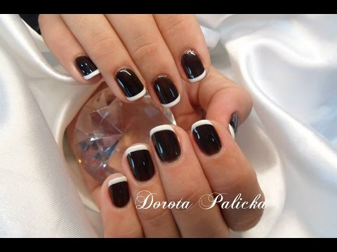 Black And White Nail Art Basic French Gel Polish On Natural Nails By Dorota
