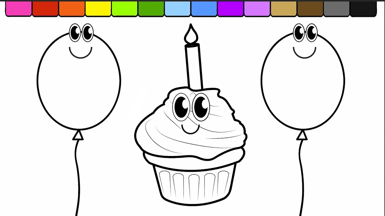 learn colors for toddlers and color this birthday cup cake balloon