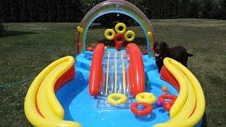 Intex Rainbow Ring Inflatable Play Center Pool Setup Vlog