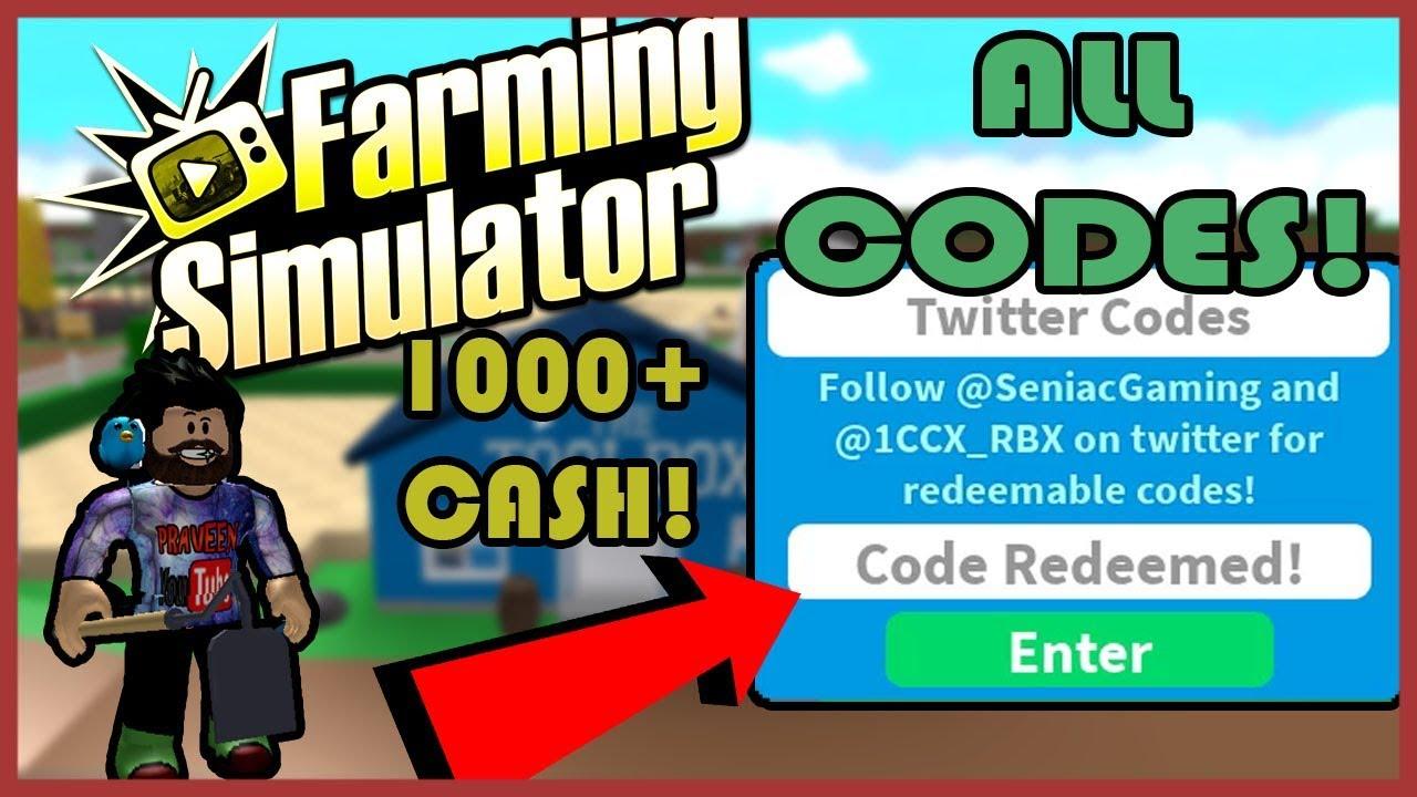 Crazy Farming Simulator All Codes 1000 Cash Roblox Youtube