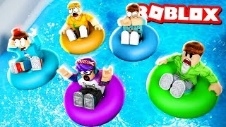 DISASTER AT THE WATER PARK! The Most Dangerous Slide Ever!! (Roblox Waterpark)