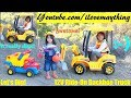 Kids' Toy TRUCKS: Construction Workers Pretend Play. Power Wheels Backhoe Construction Truck