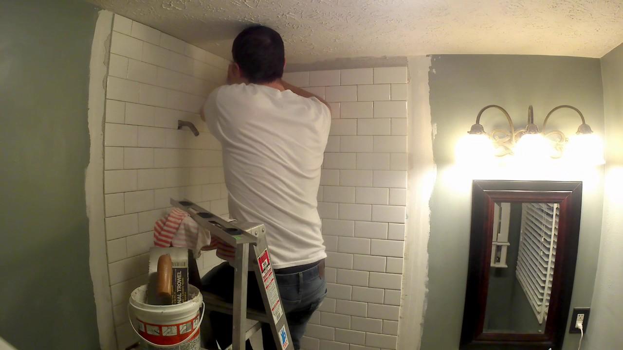 tile the corner shower - YouTube