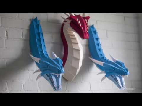 Low poly Ice Dragon. Papercraft. Timelapse