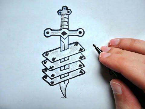 Как нарисовать Нож и карты_Вор в Законе Тату (Ehedov Elnur) How to draw tatoo_Qanuni ogru tatusu
