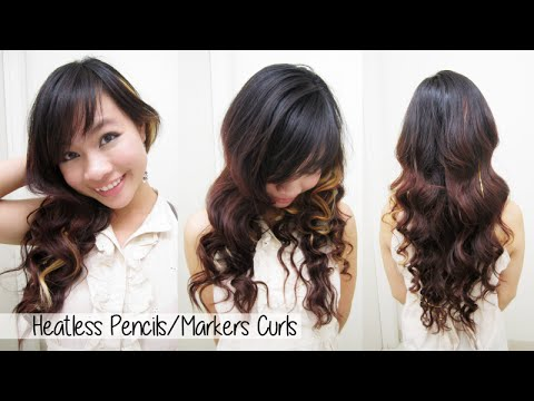 heatless curls waves l how to curl your hair with markers pencils l no heat curly wavy hair