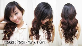 Heatless Curls/Waves l How to Curl Your Hair With Markers & Pencils l No Heat Curly/Wavy Hair