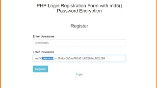 PHP Login Registration Form with md5() Password Encryption