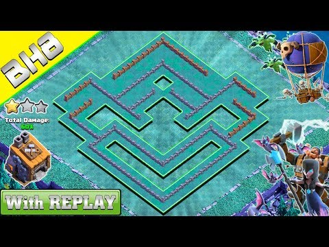 New! Clash of Clans, Builder Hall 8 Base with REPLAY 2018