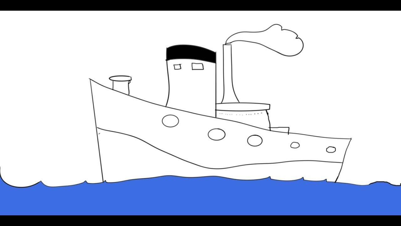 رسم سفينة بخارية نعلم رسم سفينة بطريقة سهلة وخطوات بسيطة Youtube
