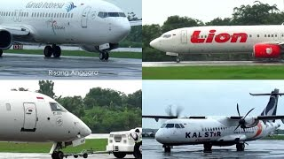 Plane Activities at Ahmad Yani Airport - Garuda Indonesia, Lion Air, and Kalstar Aviation