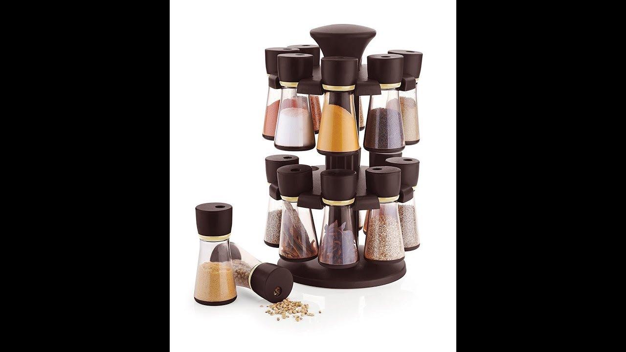 Floraware 16 Jar Revolving Spice Rack Masala Box Dark Brown Youtube