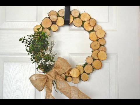 Rustic Christmas Wreath Diy.Diy Rustic Log Slice Wreath