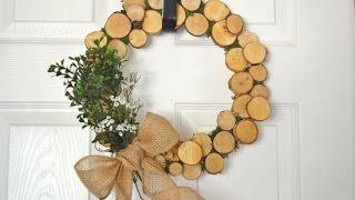 DIY Rustic Log Slice Wreath