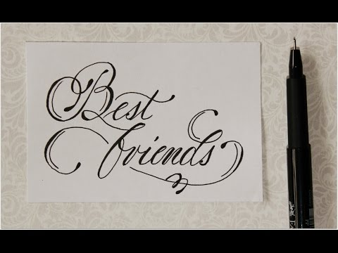 cursive fancy letters - how to write Best friends - easy :)