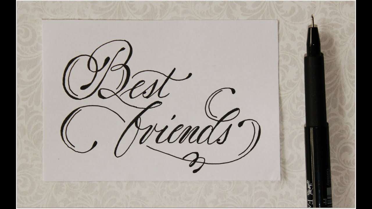 cursive fancy letters - how to write Best friends - easy :)