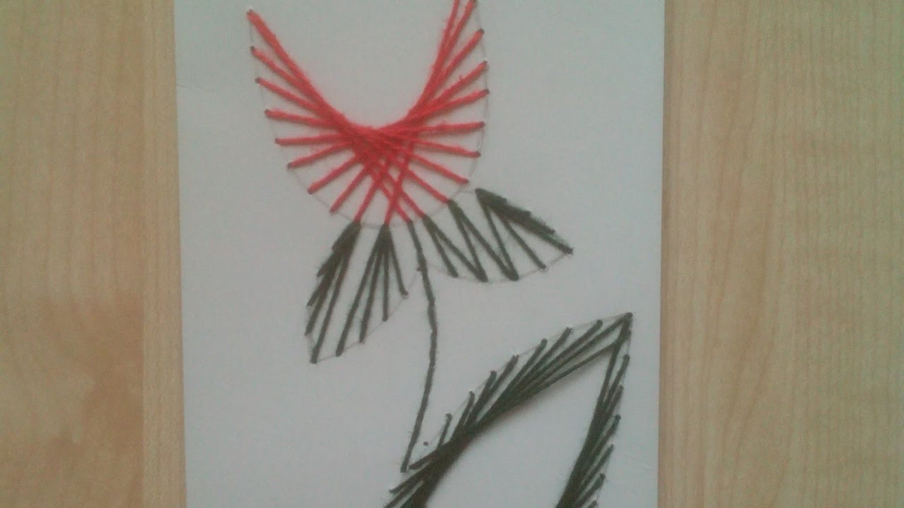 How To Make a Tulip Drawing with a Needle with a Thread - DIY Crafts ...