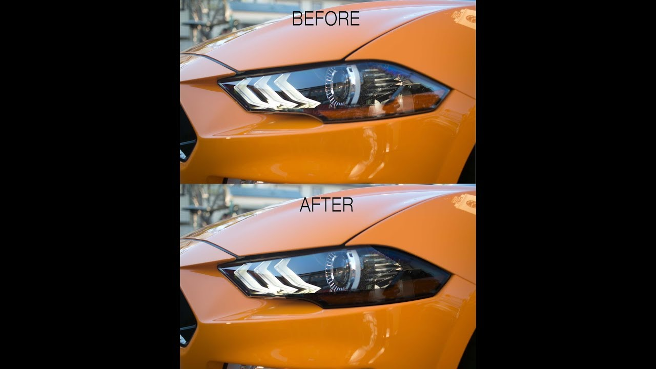 2018-2019 Ford Mustang Headlight Amber Corner Tint Installation - YouTube