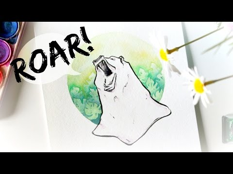 'Roar!' · Watercolour Speed-Painting with Brush Pen Detailing · SemiSkimmedMin