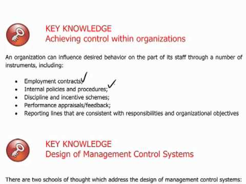 CIMA P3 - 1 Management control systems