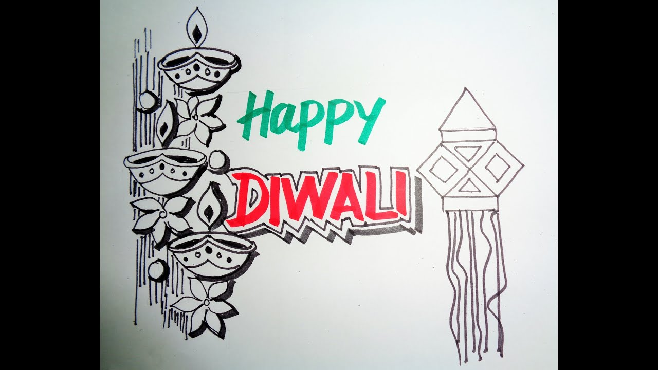 Diwali Speacial - How To Draw Lanterns And Diyaas - YouTube